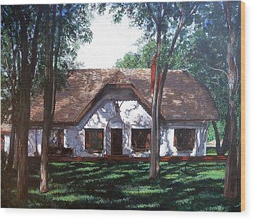 Wood Print featuring the painting Miller Homestead by Tom Roderick