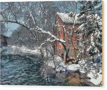 Mill House In Winter Wood Print