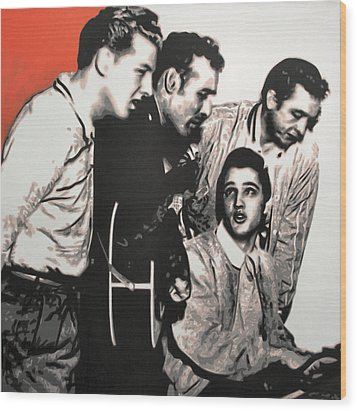 Million Dollar Quartet Wood Print by Luis Ludzska
