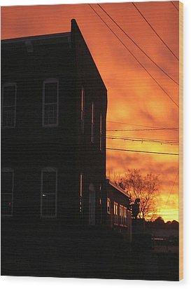 Millyard Sunset Wood Print by Nancy Ferrier