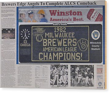 Milwaukee Brewers 1982 Al Pennant Wood Print by Marc Yench