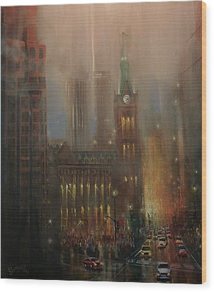 Milwaukee Rain Wood Print by Tom Shropshire