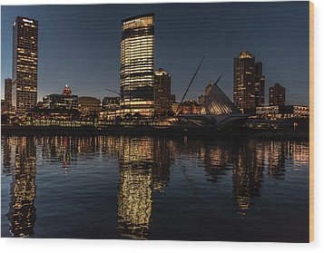 Wood Print featuring the photograph Milwaukee Reflections by Randy Scherkenbach