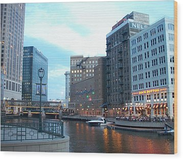 Milwaukee River Walk Wood Print by Anita Burgermeister
