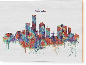Wood Print featuring the mixed media Milwaukee Watercolor Skyline by Marian Voicu