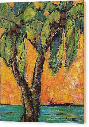 Mimosa Sky Palm Wood Print by Blenda Studio