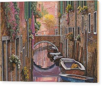 Mimosa Sui Canali Wood Print by Guido Borelli