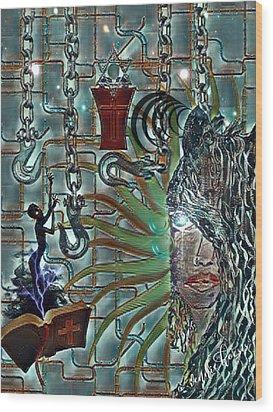 Mind Genocide Wood Print by Vennie Kocsis