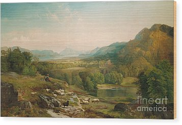 Minding The Flock Wood Print by Thomas Moran