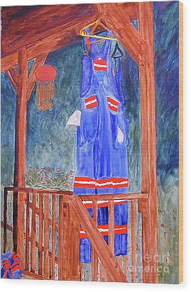 Wood Print featuring the painting Miner's Overalls by Sandy McIntire