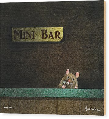 Wood Print featuring the painting Mini Bar... by Will Bullas