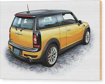 Mini Cooper Clubman Yellow Wood Print by David Kyte