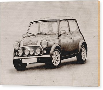 Mini Cooper Sketch Wood Print by Michael Tompsett