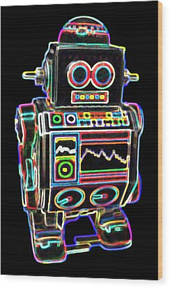 Mini D Robot Wood Print by DB Artist