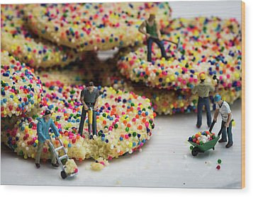 Miniature Construction Workers On Sprinkle Cookies Wood Print