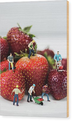 Miniature Construction Workers On Strawberries Wood Print