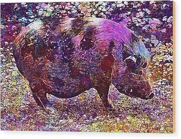 Wood Print featuring the digital art Miniature Pig Pregnant Animal Pig  by PixBreak Art
