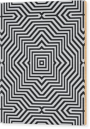Minimal Geometrical Optical Illusion Style Pattern In Black White T-shirt  Wood Print