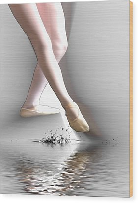 Wood Print featuring the digital art Minimalist Ballet by Angel Jesus De la Fuente