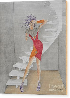 Minimalist Madness -- Whimsical Fashion Drawing Wood Print