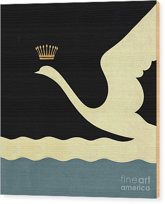 Minimalist Swan Queen Flying Crowned Swan Wood Print by Tina Lavoie