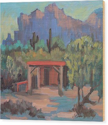 Wood Print featuring the painting Mining Camp At Superstition Mountain Museum by Diane McClary