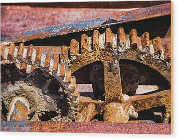 Wood Print featuring the photograph Mining Gears by Onyonet  Photo Studios