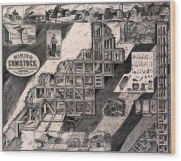 Mining On The Comstock, Cutaway Wood Print by Everett