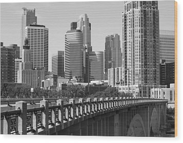 Minneapolis Black And White Wood Print