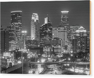 Wood Print featuring the photograph Minneapolis City Skyline At Night by Jim Hughes