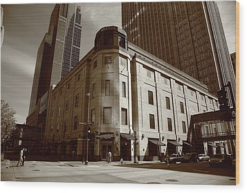 Wood Print featuring the photograph Minneapolis Downtown Sepia by Frank Romeo
