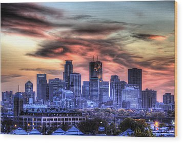 Wood Print featuring the photograph Minneapolis Skyline Autumn Sunset by Shawn Everhart