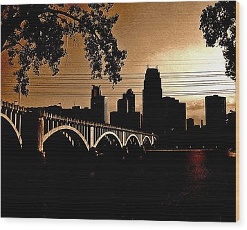 Minneapolis Skyline In Copper Wood Print by Tom Reynen