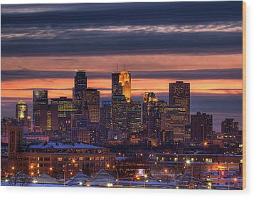 Minneapolis Skyline Wood Print by Shawn Everhart