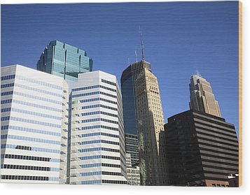 Wood Print featuring the photograph Minneapolis Skyscrapers 11 by Frank Romeo