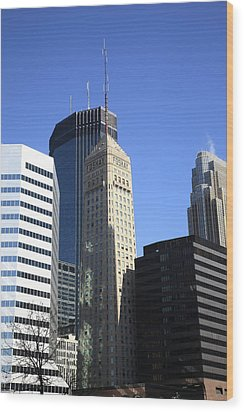 Wood Print featuring the photograph Minneapolis Skyscrapers 12 by Frank Romeo