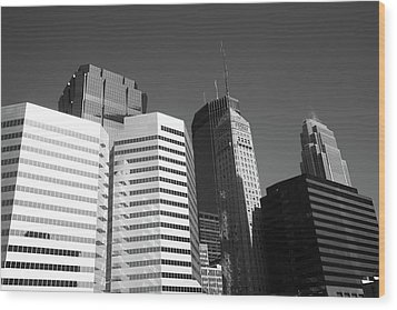 Wood Print featuring the photograph Minneapolis Skyscrapers Bw 5 by Frank Romeo