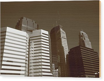 Wood Print featuring the photograph Minneapolis Skyscrapers 5 Sepia by Frank Romeo