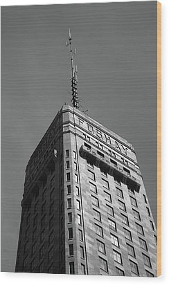 Wood Print featuring the photograph Minneapolis Tower 6 Bw by Frank Romeo