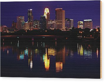 Minneapolis Twilight Wood Print