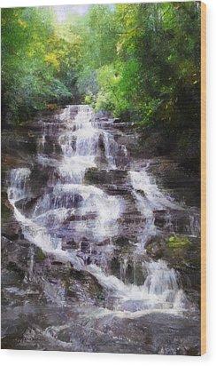 Wood Print featuring the digital art Minnehaha Falls Summer by Francesa Miller