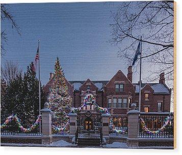 Christmas Lights Series #6 - Minnesota Governor's Mansion Wood Print