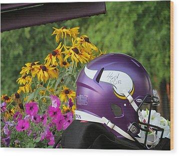 Minnesota Vikings Helmet Wood Print by Kyle West