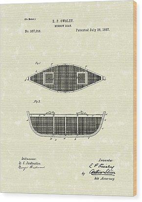 Minnow Boat 1887 Patent Art Wood Print by Prior Art Design