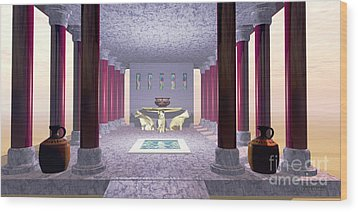 Minoan Temple Wood Print by Corey Ford