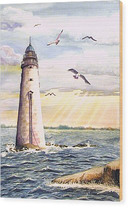 Minot Lighthouse Or The I Love You Lighthouse Wood Print
