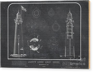 Wood Print featuring the drawing Minot's Ledge Light House. Massachusetts Bay Near Cohasset  by Vintage