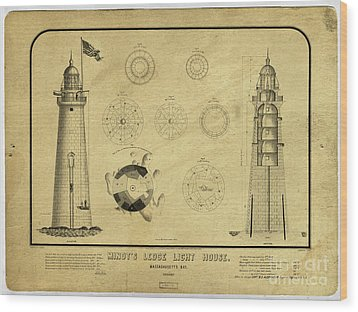 Wood Print featuring the drawing Minot's Ledge Light House. Massachusetts Bay by Vintage