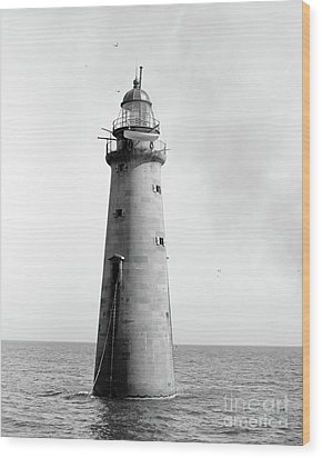 Wood Print featuring the photograph Minot's Ledge Lighthouse, Boston, Mass Vintage by Vintage