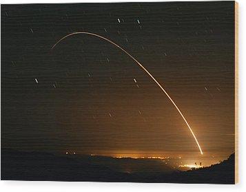 Minuteman IIi Launch April 2 2008 Wood Print by Brian Lockett